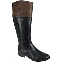 Tamaris - Black 25500 black boots with coffee top - classic riding