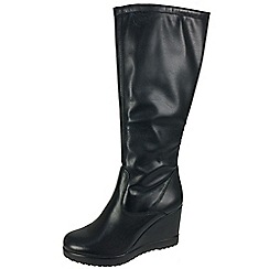 Tamaris - Black 25558 black stretch boots with inside zip