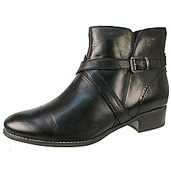 Tamaris - Black cross strap black leather ankle boots