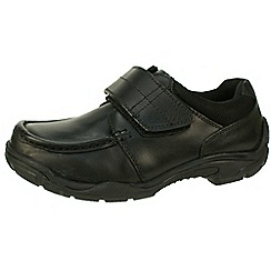 Hush Puppies - Black boys apron front school shoe with single velcro
