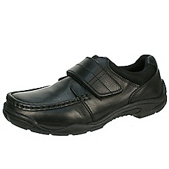 Hush Puppies - Black senior school shoes with velcro