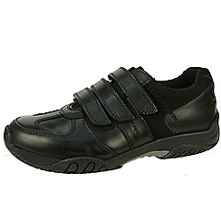 Hush Puppies - Black boys leather triple velcro school shoes