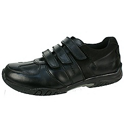 Hush Puppies - Black 'Airman' triple velcro leather school shoe