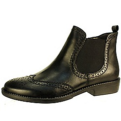 Tamaris - Black leather brogue chelsea boots with inside zip
