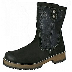 Tamaris - Black zip boot with furry lining