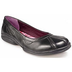 Pod - Black leather slip on school shoes