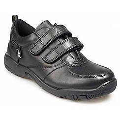 Pod - Black Black leather junior twin rip tape school shoes