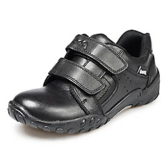 Pod - Aqua infant's twin velcro black leather school shoe