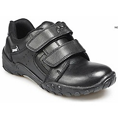 Pod - Black leather junior twin velcro school shoes