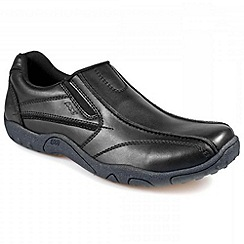 Pod - Black leather slip on school shoe