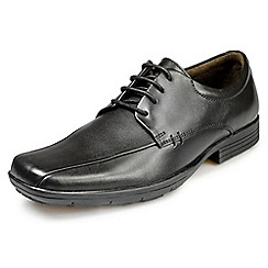 Pod - Aqua black leather lace up school shoes