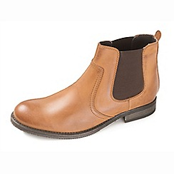 Ikon - Aqua men's tan pull on boots with twin gusset