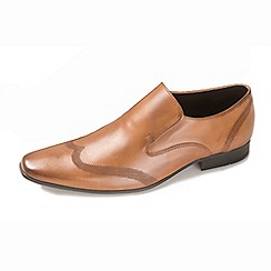 Ikon - Tan men's formal slip on shoe with detailing