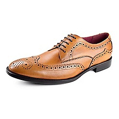 Azor - Tan Men's formal leather shoes with punch detailing