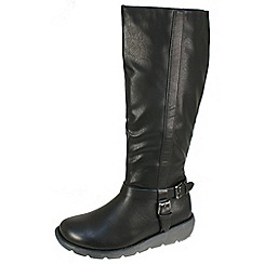 Heavenly Feet - Black 'N.berry' black high boots with inside zip