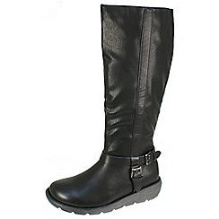 Heavenly Feet - Black 'N.berry' black high boots with inside zip