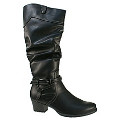 Tamaris - Black Black inside zip boots with ruched leg and strap detail