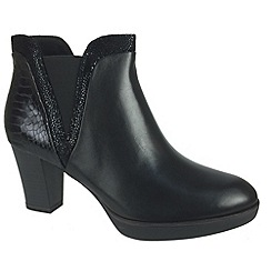 Tamaris - Black 25047 black ankle boot with snake effect panel