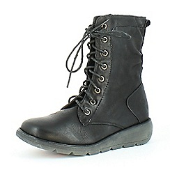Heavenly Feet - Black Walker 2 black lace-up boots