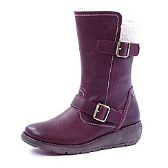 Heavenly Feet - Wine Pacific biker boots with faux fur lining