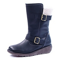 Heavenly Feet - Blue Pacific faulx fir lined biker boots