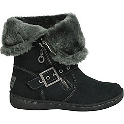 Pixie - Black poppy two in one mid boots