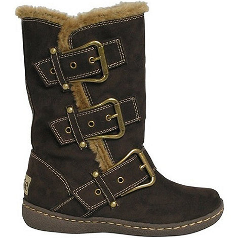Pixie - Chocolate daisy buckled mid boots