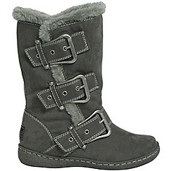 Pixie - Grey daisy buckled mid boots