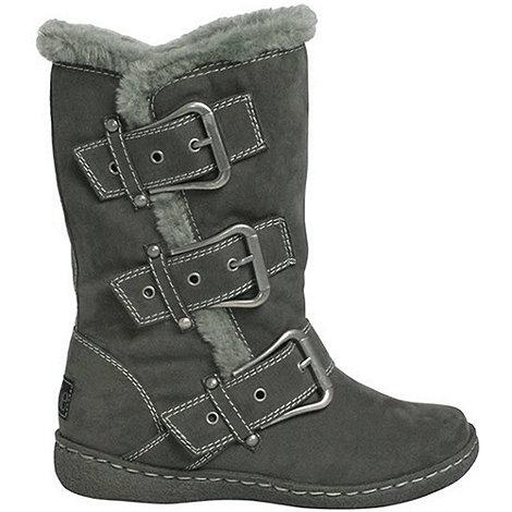 Pixie - Grey daisy buckled mid boots