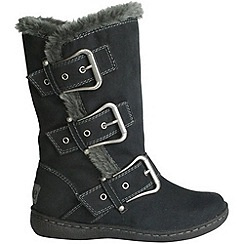 Pixie - Black daisy buckled mid boots