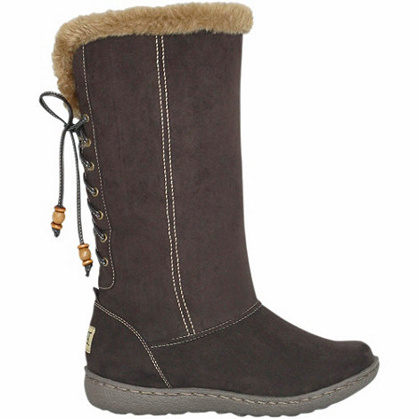 Pixie - Chocolate rosie faux fur topped mid boots