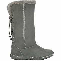 Pixie - Grey rosie faux fur topped mid boots