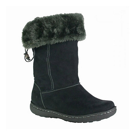 Pixie - Black rosie faux fur topped mid boots