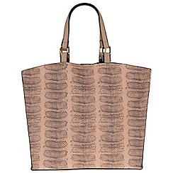 Parfois - Beige hand bag pvc plain shopper beige