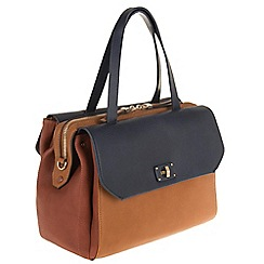 Parfois - Hand bag patchwork bowling bag navy