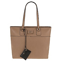 Parfois - Hand bag pvc plain shopper taupe