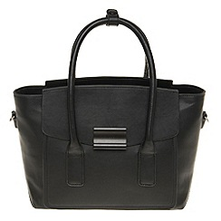 Parfois - Hand bag pvc plain bowling bag black