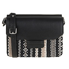 Parfois - Hand bag plain fabric crossover black