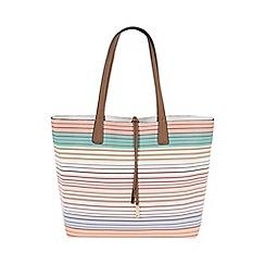 Parfois - White 'All In Stripes' shopper