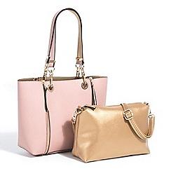 Parfois - Pink plain polyurethane shopper bag