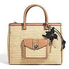 Parfois - Beige stripes straw briefcase