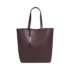 Parfois - Burgundy plain polyurethane shopper bag