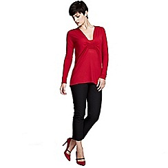 HotSquash - Red Pintuck Top With ThinHeat