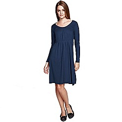 HotSquash - Blue round necked knee length dress in clever fabric