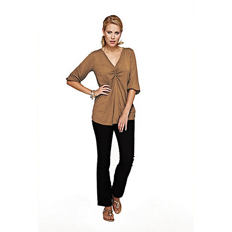 HotSquash - Light Brown V Neck Tunic With Thinheat