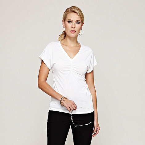 HotSquash - White V Neck Ruched Top With CoolFresh