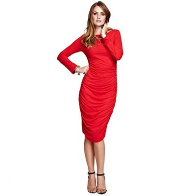 Red ruched dress in ThinHeat fabric