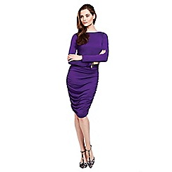 HotSquash - Purple ruched dress in thinheat fabric