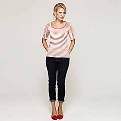 HotSquash - Coral short sleeved striped scoop with CoolFresh