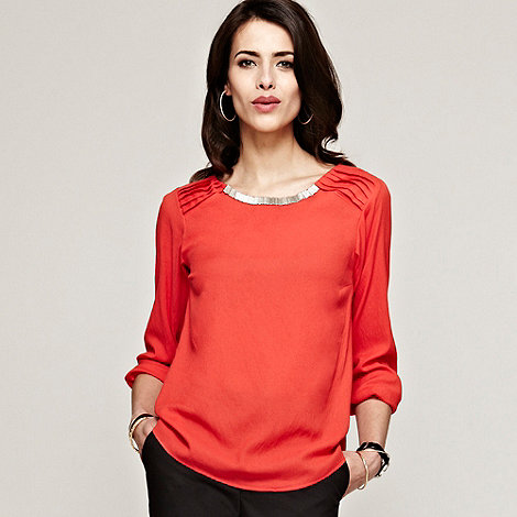 HotSquash - Orange long sleeved blouse in Clever fabric